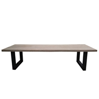 rectangle outdoor dining table reclaimed teak dark iron sled legs