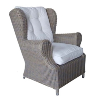 Outdoor Gray Woven Kubu Wing Chair