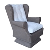 chair swivel rocking gray wicker woven outdoor wing rolled arms cushion white tufted coastal