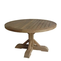 table dining outdoor round reclaimed wood teak pedestal base plank top