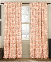 curtain panel drapery orange brick white coral-like pattern lined