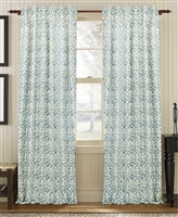 curtain panel drapery denim blue white coral-like pattern lined