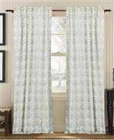 curtain panel drapery taupe tan white coral-like pattern lined