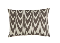 outdoor pillow lumbar long rectangle dark grey ivory off-white ikat