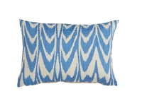outdoor pillow blue ivory cream ikat lumbar rectangle long