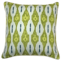 lime green teal white square pillow
