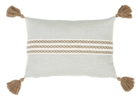 outdoor pillow lumbar long rectangle light silver taupe white tape tassels