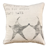 message pillow square natural linen white cotton love starfish