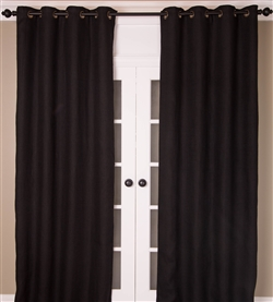 Designer India's Heritage Black Burlap Curtains & Drapery Panels