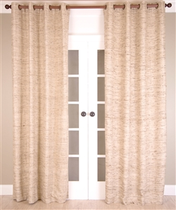 India's Heritage Curtain Panel - Luxury Drapery In Ivory Raw Silk + Brown Threads & Striations Grommets