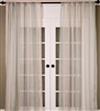 India's Heritage curtain panel drapery window treatments linen sheer stripe vertical white aqua turquoise
