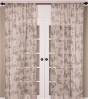 India's Heritage curtain panel drapery window treatments linen sheer toile print taupe gray white rod pocket unlined