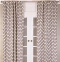India's Heritage curtain drape panel window treatment linen chevron brown white rod pocket back tabs sizes