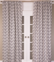 India's Heritage curtain panel drapery window treatment linen cotton grey gray white chevron lined size options