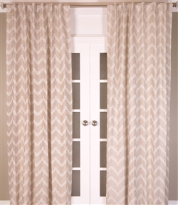 India's Heritage curtain drapery window treatment linen cotton natural white chevron back tabs rod pocket size options lined