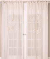 India's Heritage curtain panel drapery window treatment sheer ivory linen pleats lace embroidery tie top unlined