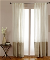 India's Heritage curtain panel drapery window treatment ready-made linen stripe tan ecru rod pocket back tabs