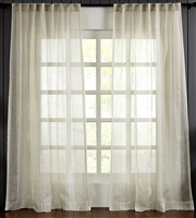 India's Heritage curtain panel drapery window treatment ready-made linen stripe natural ecru rod pocket back tabs