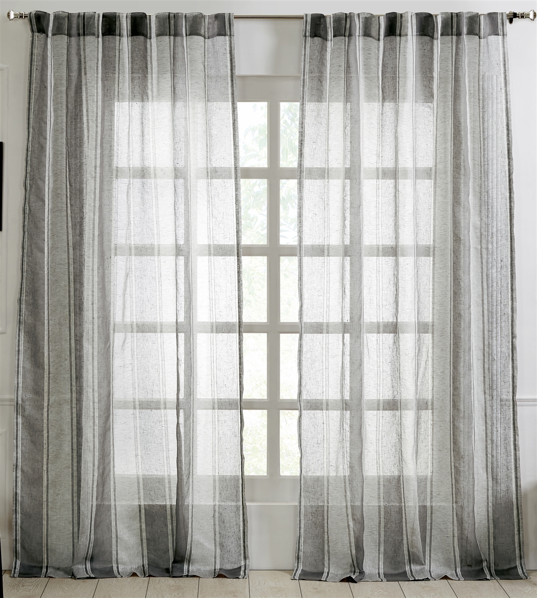 India S Heritage Grey Linen Stripe Curtain Panel Sheer Gray Curtains