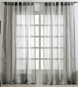 India's Heritage curtain panel drapery window treatment ready-made linen stripe grey rod pocket back tabs