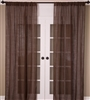 India's Heritage curtain panel drapery window treatment loose weave linen unlined chocolate brown rod pocket