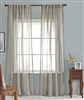 India's Heritage curtain panel drapery window treatment ready-made linen stripe natural blue rod pocket back tabs