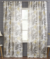 India's Heritage curtain panel drapery window treatment ready-made linen floral large gray yellow rod pocket back tabs