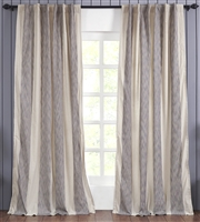 India's Heritage curtain panel drapery window treatment ready-made cotton stripe wide navy blue ivory Rod Pocket Back Tabs