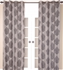 India's Heritage curtain panel drapery window treatment burlap grey gray black lined grommets