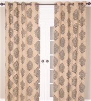 India's Heritage curtain panel drapery window treatment burlap natural grey gray printed grommets lined size options
