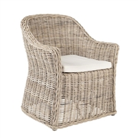 rattan natural arm chair cushion seat white coastal