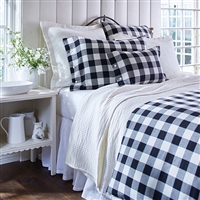 duvet twin queen king pillow sham standard euro black white buffalo check cotton