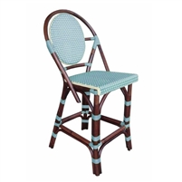 rattan bistro counter stool four legs woven oval back blue bamboo