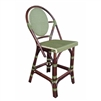 rattan bistro counter stool four legs woven oval back green bamboo