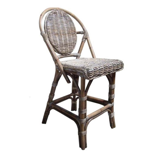 Paris bistro counter stool four legs gray woven oval back bamboo