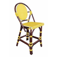 rattan bistro counter stool four legs woven oval back yellow bamboo
