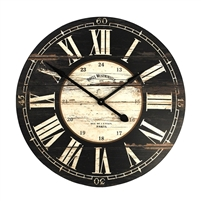 Rustic Black Face Wall Clock - Unique Wall Hung Décor