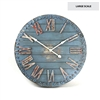 Large Wooden Clock - Rustic Blue Painted