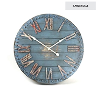 Rustic Blue Painted Large Wooden Clock - Unique Wall Hung Décor