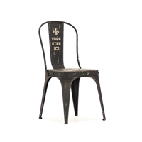 Vintage Inspired Metal Chair - Fleur De Lis