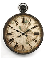 Wall Clock - Iron - Vintage Map