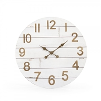 wall clock round wood whitewashed natural numbers clock hands