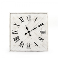 wall clock square wood strips roman numerals black whitewashed