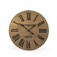wall clock wood round pine natural black roman numerals hands antique 1875 nail heads