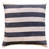 pillow square linen stonewashed black stripes square