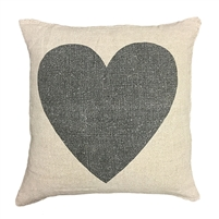 pillow linen stonewashed square natural black heart