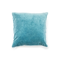 "Indigo Blue Velvet Pillow Pom Pom 22"" square"