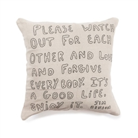pillow jim henson cream black embroidered