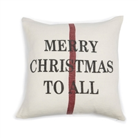 linen square pillow cream red christmas