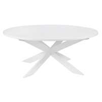 round dining table four leg pearl white oak